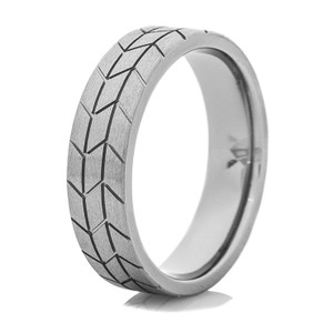 Men's Titanium Stone Finish Tire Tread Ring