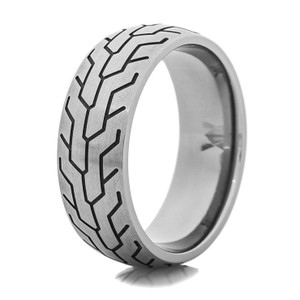 Men's Titanium Tire Track Ring
