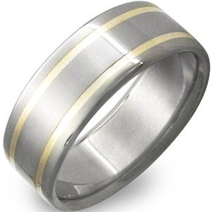 Dual Inlay Titanium and Gold Wedding Band
