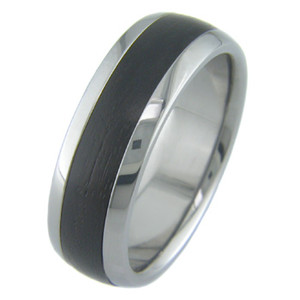 Men's Dome Profile Titanium and African Blackwood Ring