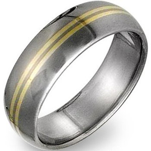 Titanium Ring with Gold Inlay