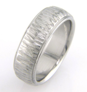 Men's Dome Tree Bark Titanium Ring