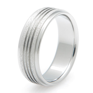 Triple Channel Titanium Frost Ring