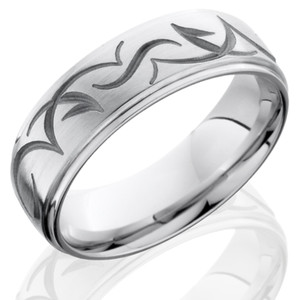 Men's Grooved Edge Cobalt Tribal Ring