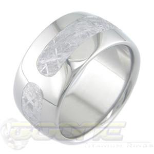 Men's Wide Titanium Tri-Sector Gibeon Meteorite Ring