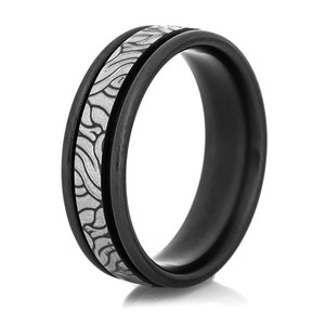Black Zirconium Tree Roots Ring