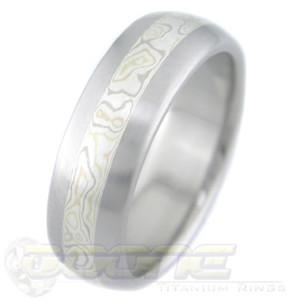 Men's Samidare Mokume Gane Titanium Ring