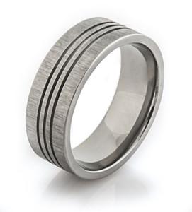 Triple Groove Titanium Ring