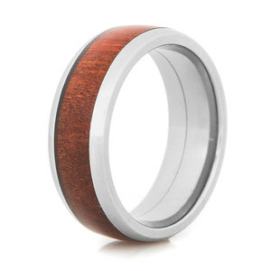 Men's Dome Profile Polished Titanium Honduras Redheart Wood Ring