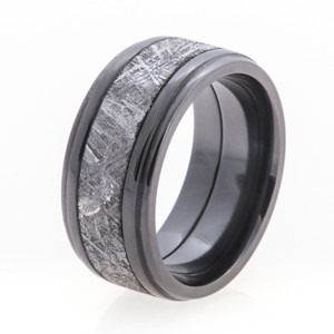 Men's Double Step Down Edge Black Zirconium Gibeon Meteorite Ring
