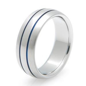 Men's Blue Inlay Two-Tone Titanium Ring