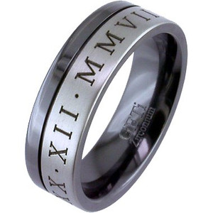 Two-Tone Zirconium Numeral Ring