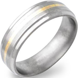 Beveled Titanium Gold Ring