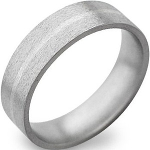 Men's Stone Finish Titanium and White Gold Inlay Ring