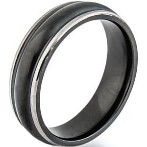 Black Zirconium Ring with Polished Silver Edges