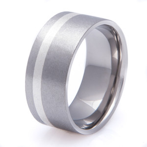 Wide Titanium and Sterling Silver Inlay Ring