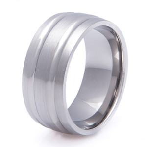 Wide Titanium Double Concave Ring