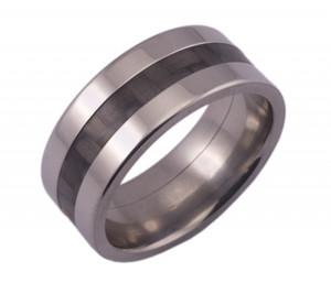 Wide Titanium Ring and Carbon Fiber
