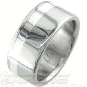 Wide Gold Titanium Wedding Ring with Offset Inlay