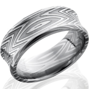 Men's Concave Zebra Pattern Damascus Steel Ring