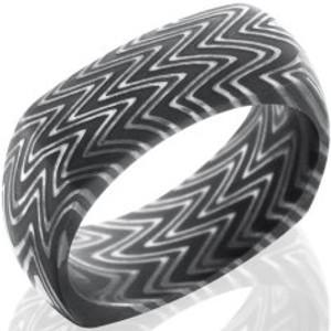 Men's Square Acid Finish Zebra Pattern Damascus Steel Ring
