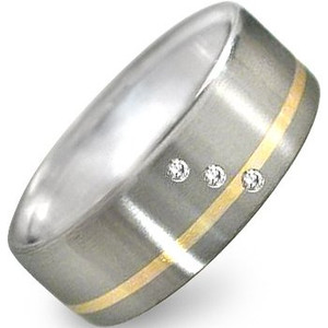 Gold Titanium Diamond Ring