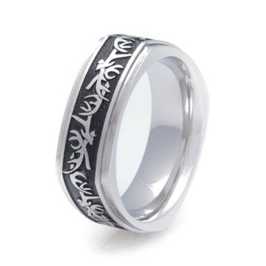 Men's Titanium Square Antler Ring