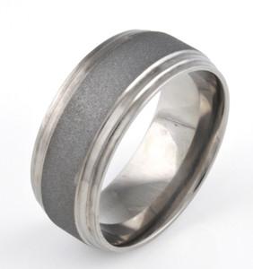Men's Double Step Down Titanium Sandblasted Ring