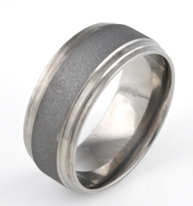 Men's Double Step Down Titanium Sandblasted Ring