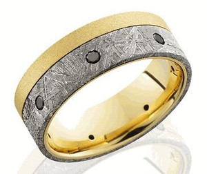 Gold Meteorite Ring with Black Diamonds