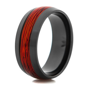 Men's Black Ring with Burnt Orange Fishing Wire Inlay