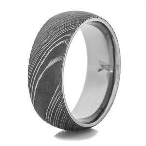 Men's Titanium Ring with Damascus Steel Sleeve