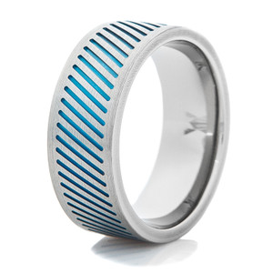 Men's Titanium Ring with Blue Channel Grooves