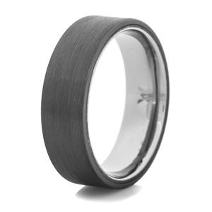 Men's Flat Black Ring with Titanium Inner Sleeve