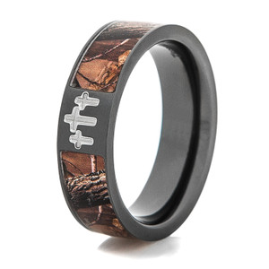 Men's Black Three Cross Realtree Camo Ring