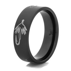 Men's Black Fly Hook Fishing Ring