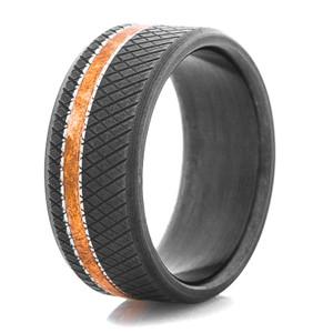 Men's Black Titanium Titan Ring w/Copper Inlay