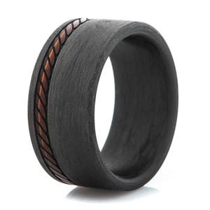 Men's Stitched Pattern Wide Carbon Fiber Ring