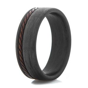 Men's Stitched Pattern Carbon Fiber Ring