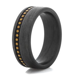 Men's Studded Leather Pattern Carbon Fiber Ring