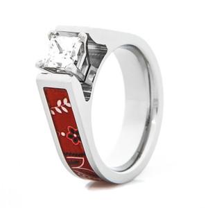 Women's Red Bandana Cobalt CZ Engagement Ring