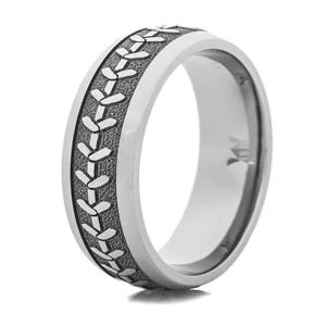 Men's Laser-Carved Titanium 3D Baseball Stitch Ring