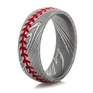 Men's Damascus Steel Baseball Stitch Ring