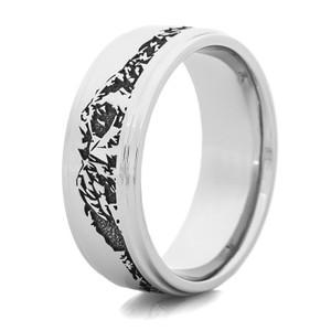 Men's Laser-Carved Titanium Wasatch Mountain Range Ring