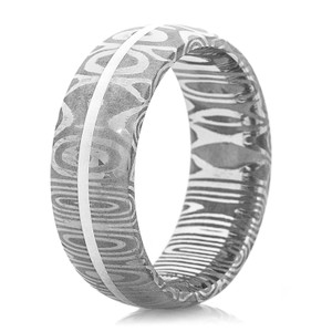 Men's Dome Profile Damascus Steel Ring with 14K White Gold Inlay