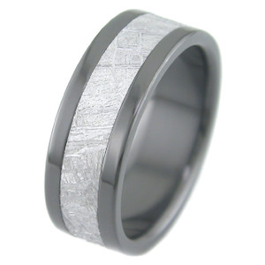Men's Flat Black Zirconium Gibeon Meteorite Ring
