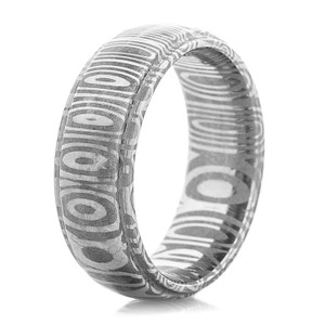Men's Damascus Steel Ring with Grooved Edge