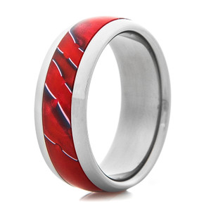 Titanium Ring with Devil Red Inlay