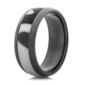 Black Zirconium Ring with Black & White Inlay