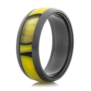 Black Zirconium Ring with Black & Yellow Inlay